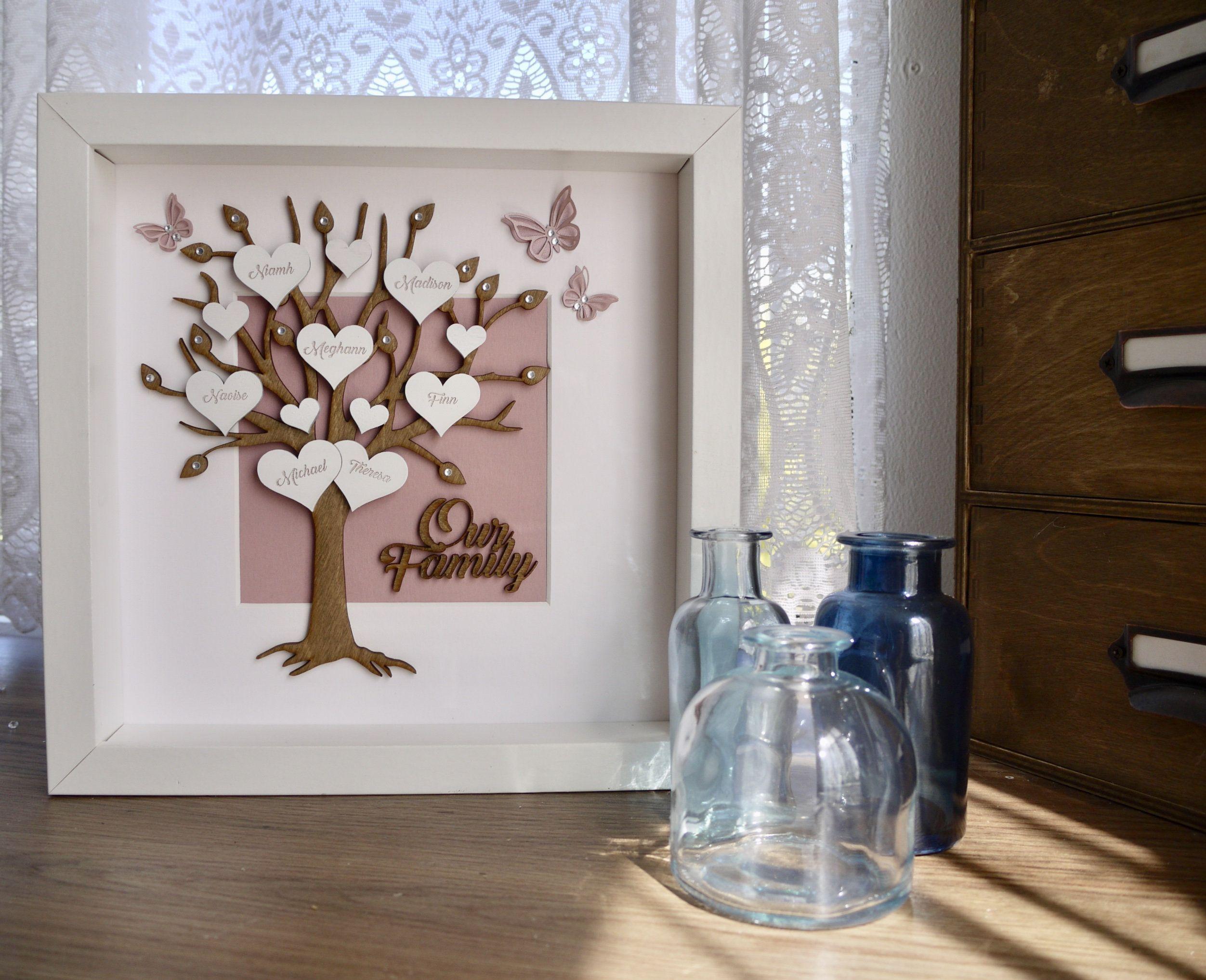 Family tree frame shadow box christmas gift for her
