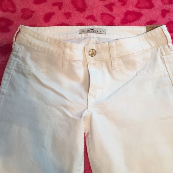 White Hollister jeans White Hollister jeans. Flare with lace. Size five. Thought I would like them and I don't. I don't have a store by me to return them so I'm just going to try and sell to get some of the money back. Price flexible. Willing to trade. Hollister Pants