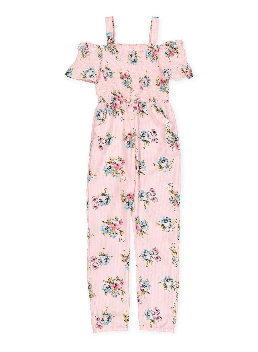 679f038f0 Girls 7-16 Off the Shoulder Floral Striped Jumpsuit - Pink - Size 16 ...