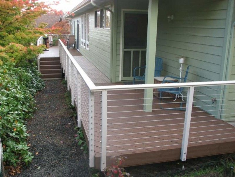 stainless steel wire railings with aluminum post wraps ...