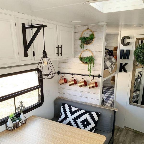 65 Best Farmhouse Rv Decor Ideas To Makeover Your Rv Camper Makeover Remodeled Campers Camper Renovation