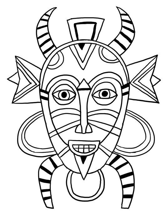 4 senoufo masque dessiner african masks african art et african american history month - Masque a dessiner ...