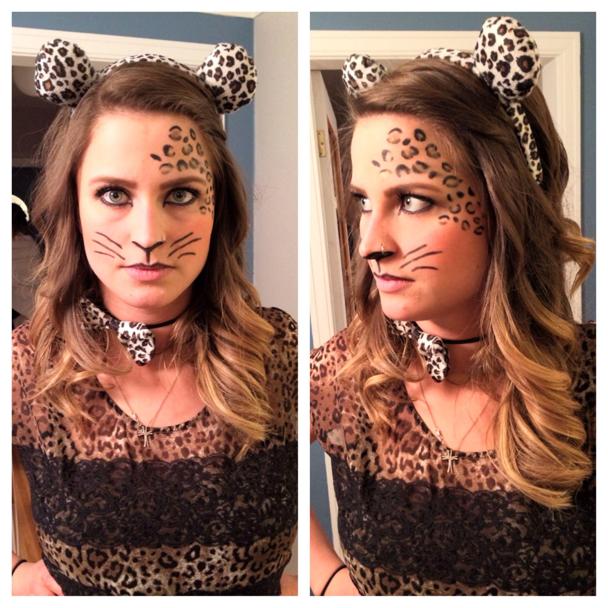 Cheetah makeup for Halloween using eyeliner and eyeshadow