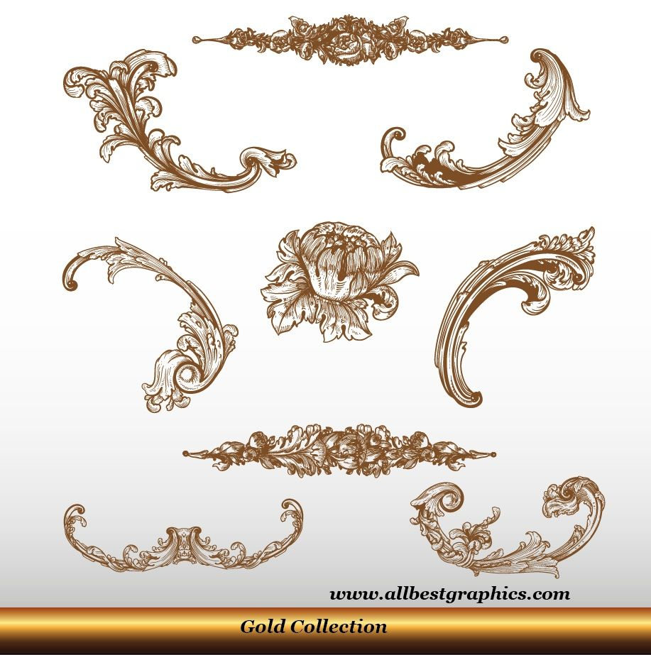 Acanthus Leaves Victorian Style Decorative Elements Set 90326