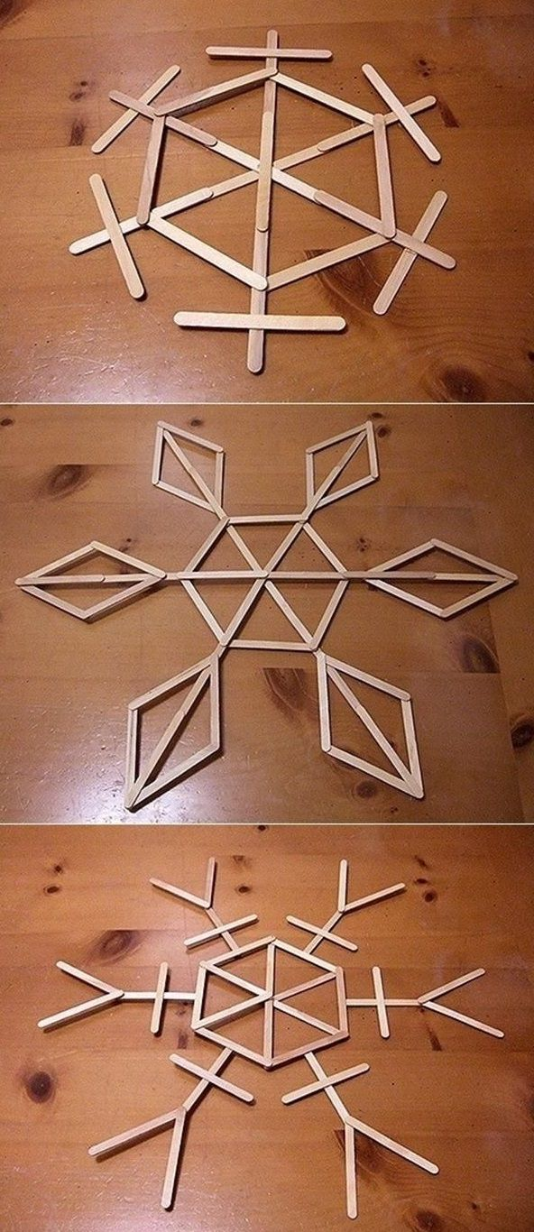 DIY Snowflake Popsicle Stick Art glue u paint if desired Would