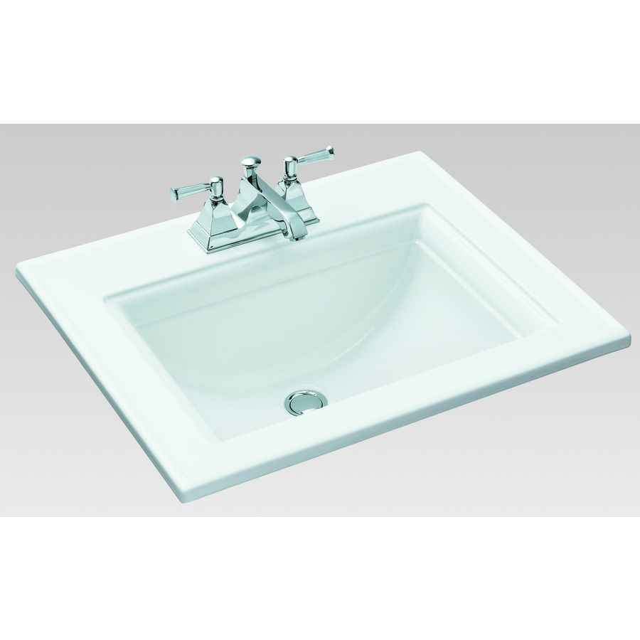 Master and secondary bath  kohler memoirs white drop in rectangular bathroom sink with overflow also