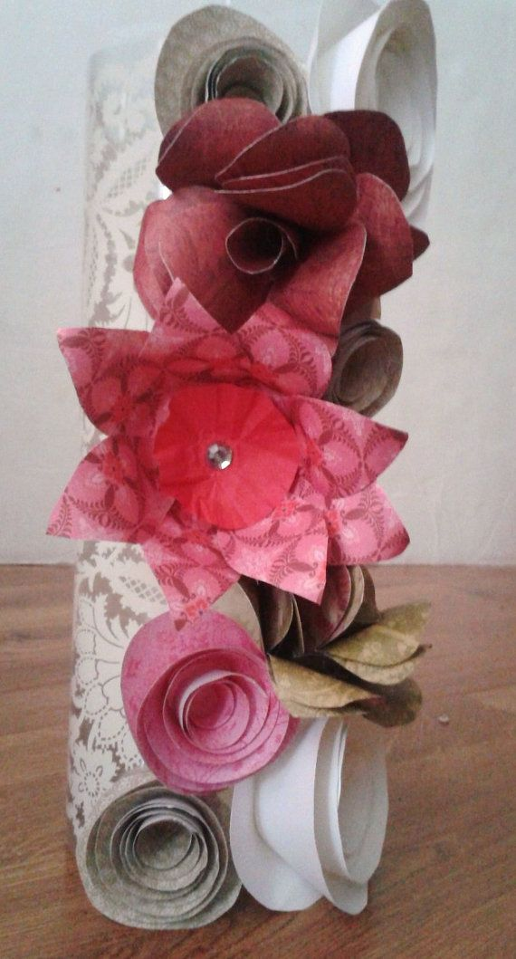 Lace Detail Paper Flower Vase (Centrepiece) Set of 6. $140.00