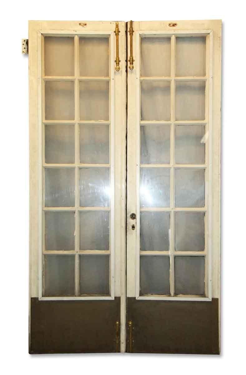 12 Lite Antique White French Double Doors 83 5 X 46 25 French Doors Interior Custom Wood Doors Interior