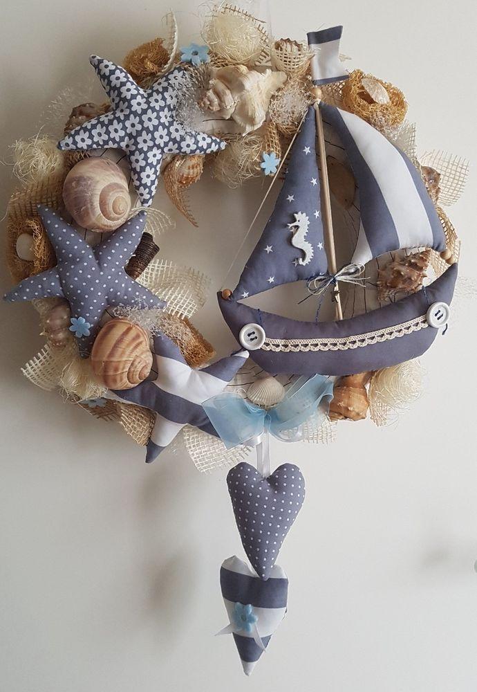 Details zu t rkranz maritim stern schiff herz tilda art kranz handarbeit wreaths and patchwork - Dekoration maritim ...
