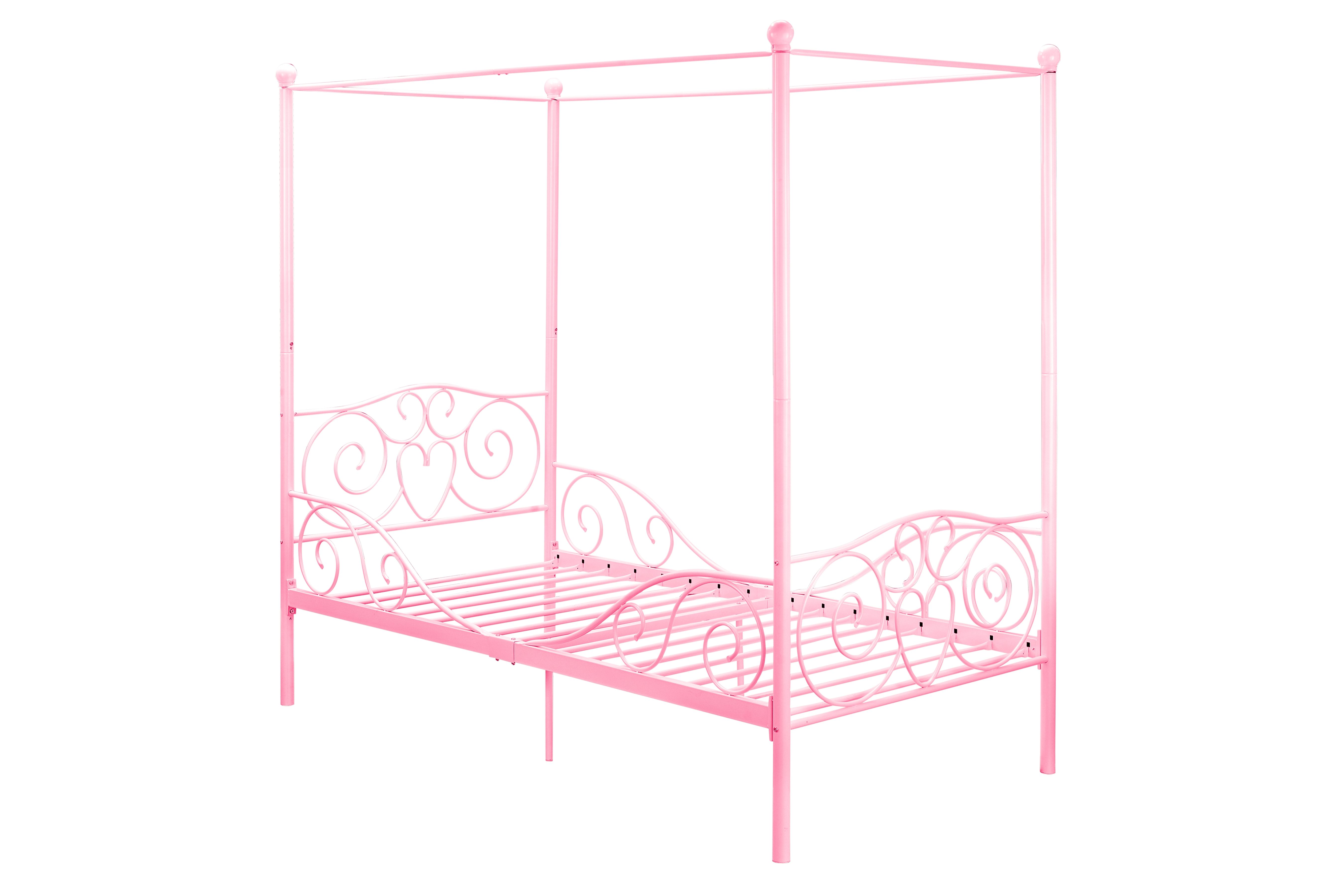 - Canopy Canopy Twin Bed, Pink Twin Canopy Bed, Bed Frame, Metal Beds