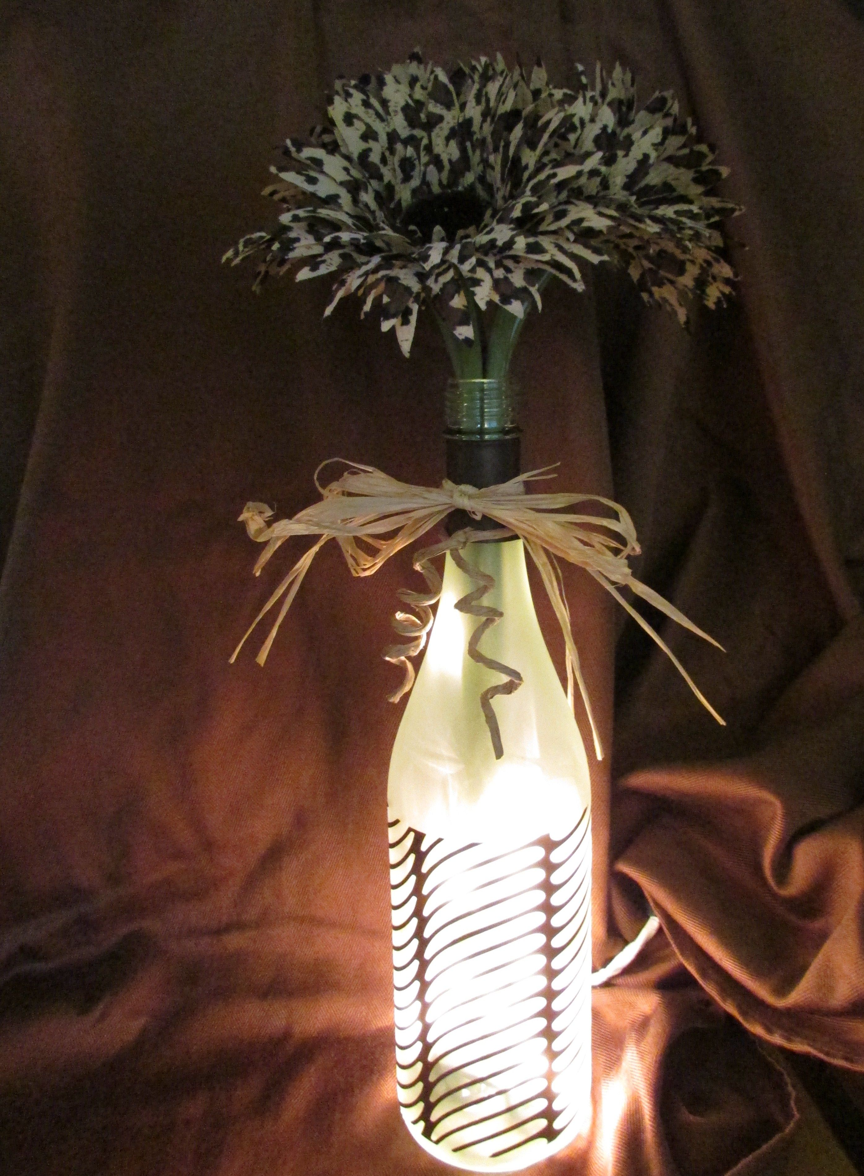 Brown print flowers and brown vinyl design on bottle