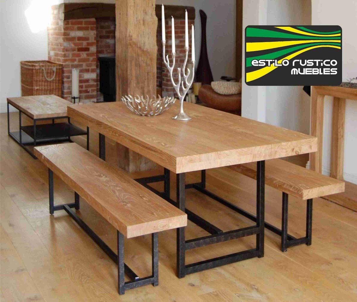 Mesa comedor de hierro y madera sin bancos - Bancos para comedor ...
