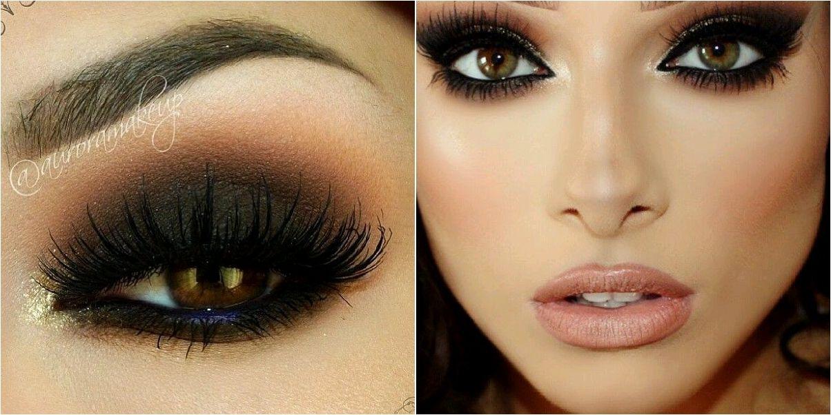 Maquillaje de noche con ahumado negro y marrón Marrón, Maquillaje