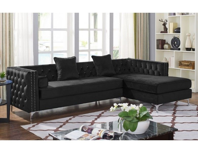 Monet Black Velvet Modern Sectional | Living room furniture ...