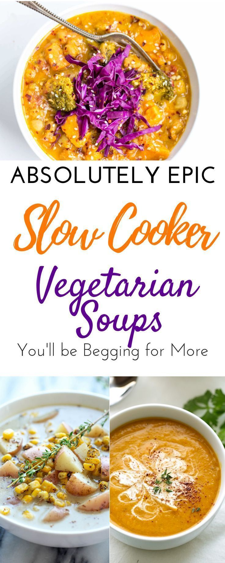 Easy Delicious Vegetarian Slow Cooker Soup Recipes for Clean Eating images