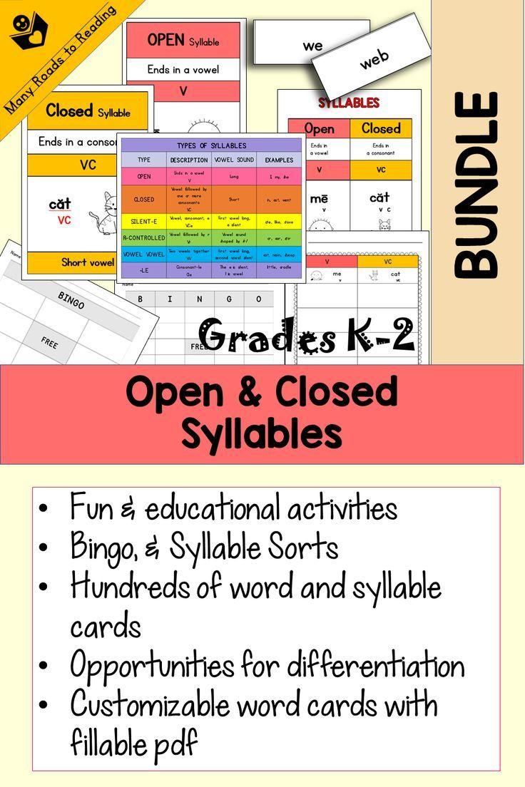 Open & Closed Syllable Sort & Bingo BUNDLE Grades K2
