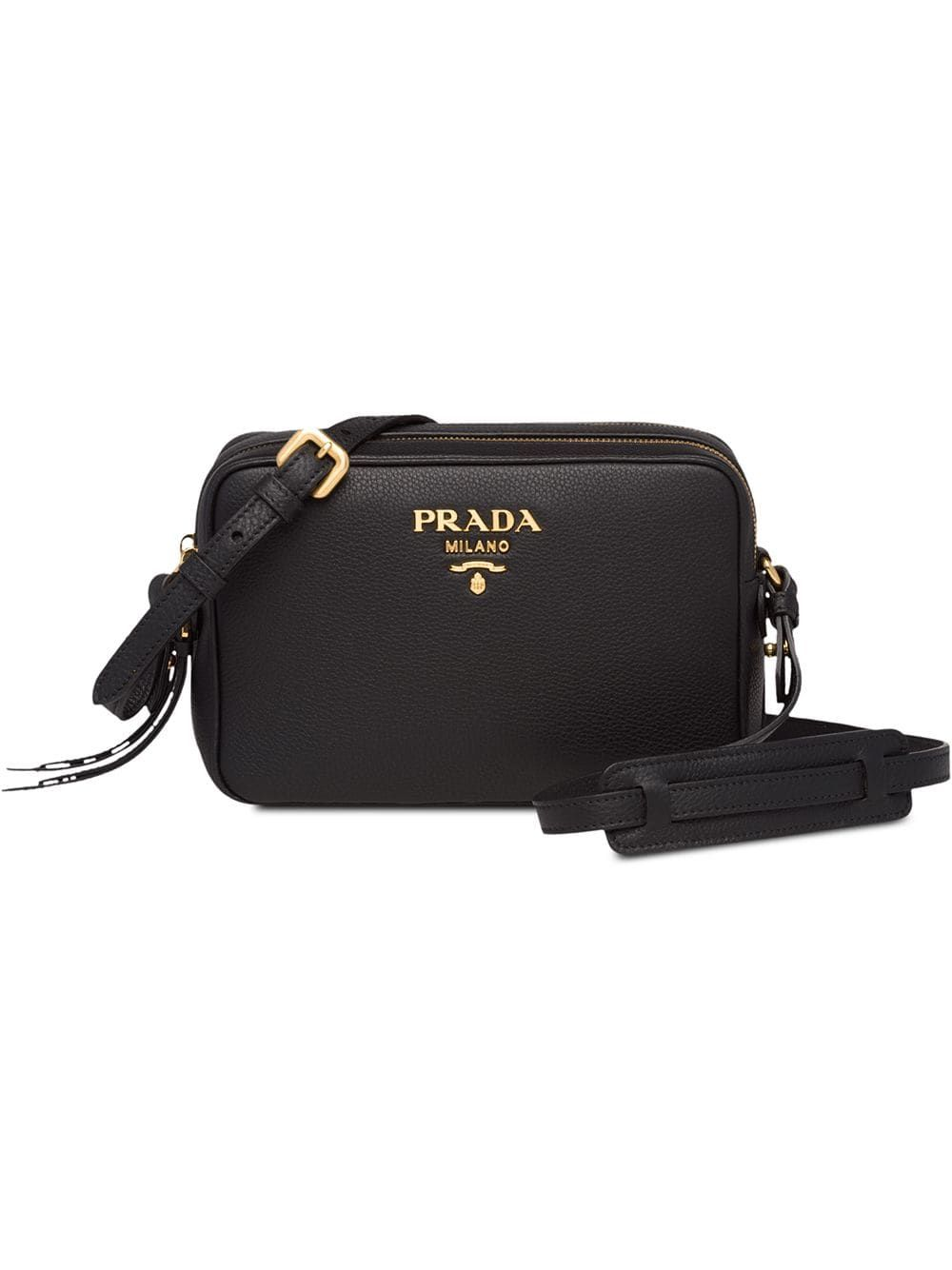 bb821cfab276 PRADA PRADA BLACK LOGO LEATHER SHOULDER BAG. #prada #bags #shoulder bags # leather
