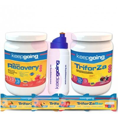 Pack Keepgoing Triforza Energy 500g + Quick Recovery 600g + 3 Barritas Triforza + Bidón