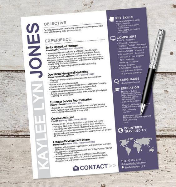 The Kaylee Lyn Resume Design - Graphic Design - Marketing - Sales - medical customer service resume