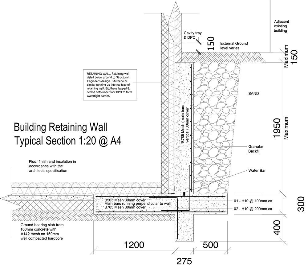9a Retaining Wall Tanking Detail Ws Planning