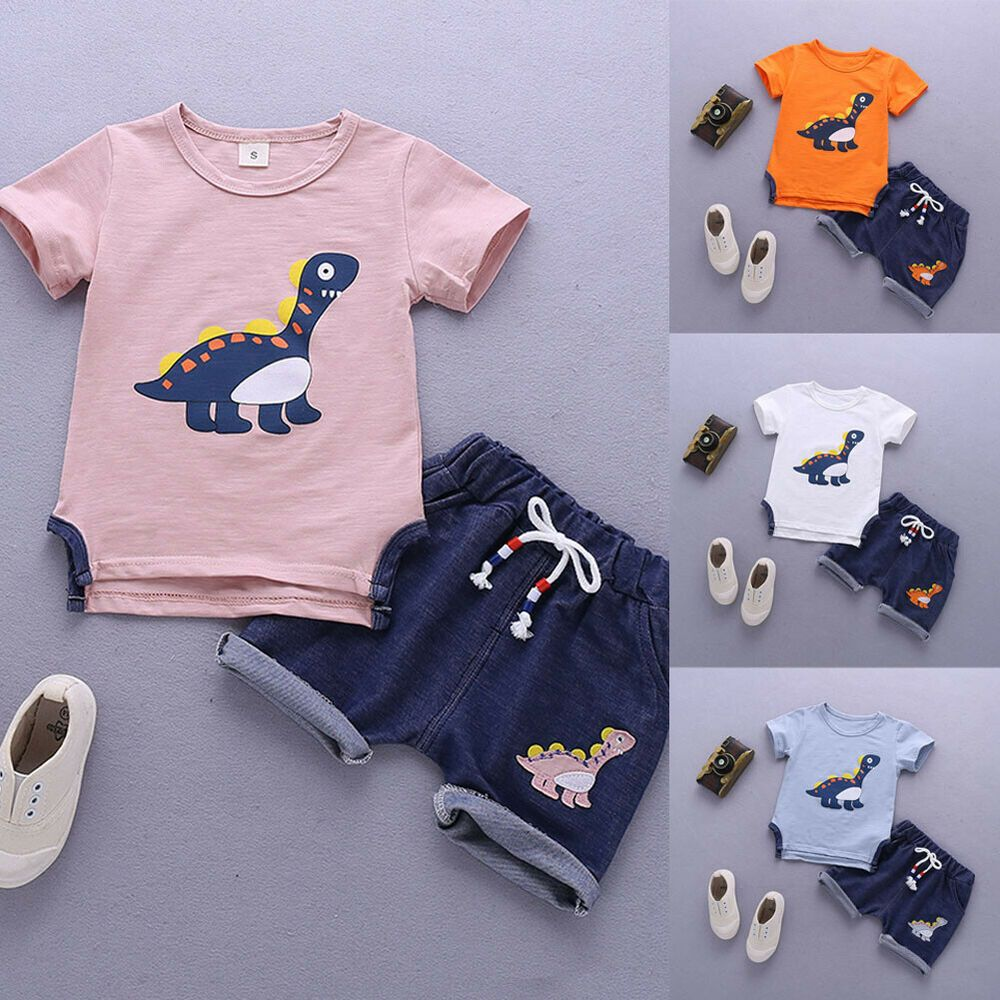 NEW Toddler Kids Baby Boys Tops T-shirt Dinosaur Pants Shorts Outfits Clothes#