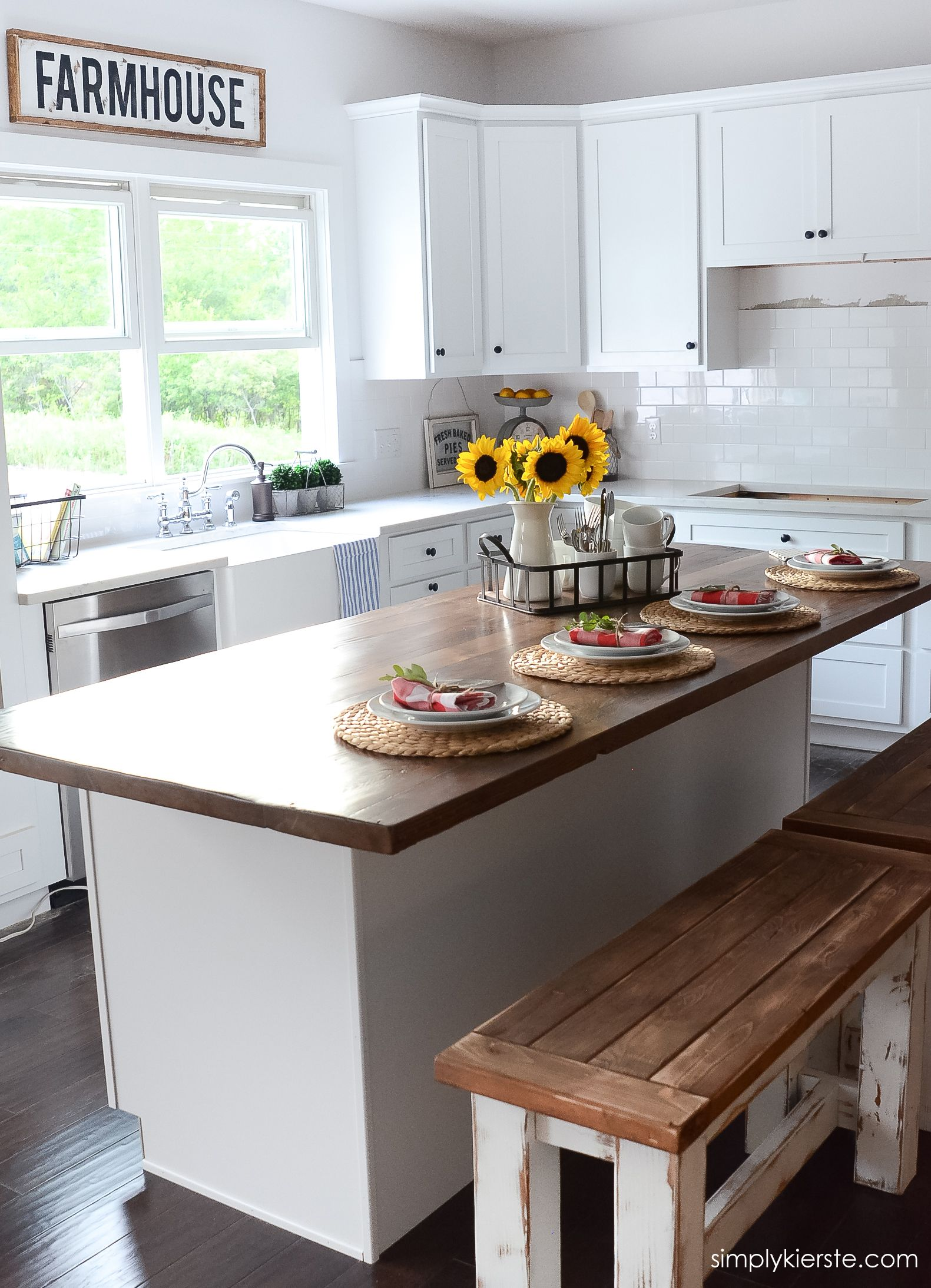 DIY Framed Wood Farmhouse Sign Kitchen island decor