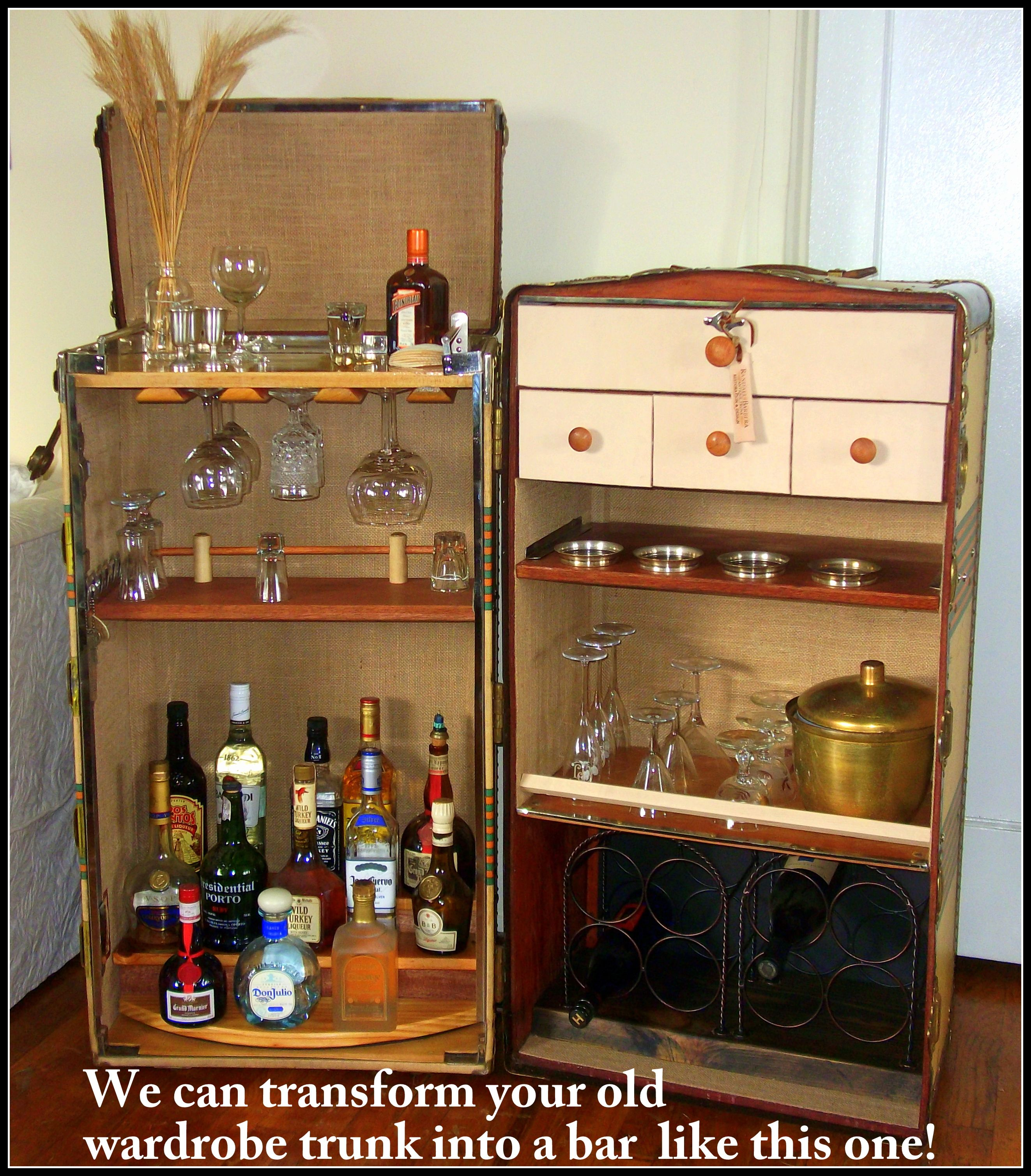 bar trunk furniture. a wardrobe trunk converted into bar for client furniture b