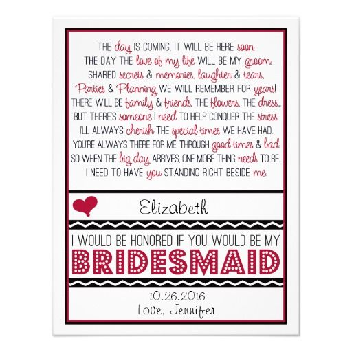 Will You Be My Bridesmaid? Deep Red/Black Poem V2