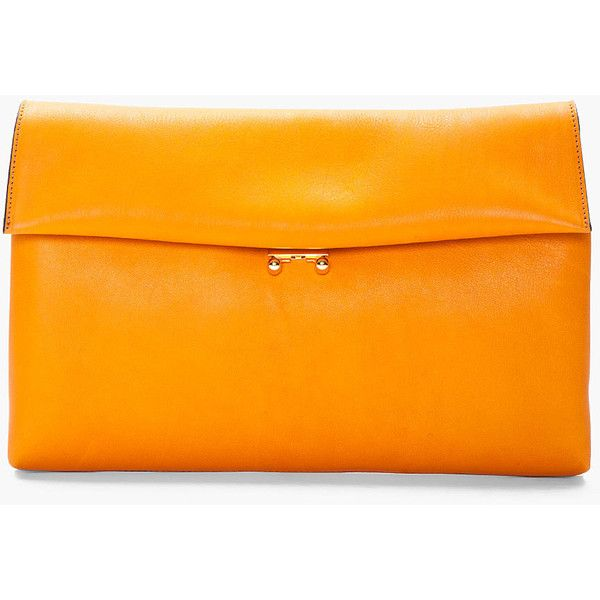 MARNI Burnt Orange Padded Leather Clutch