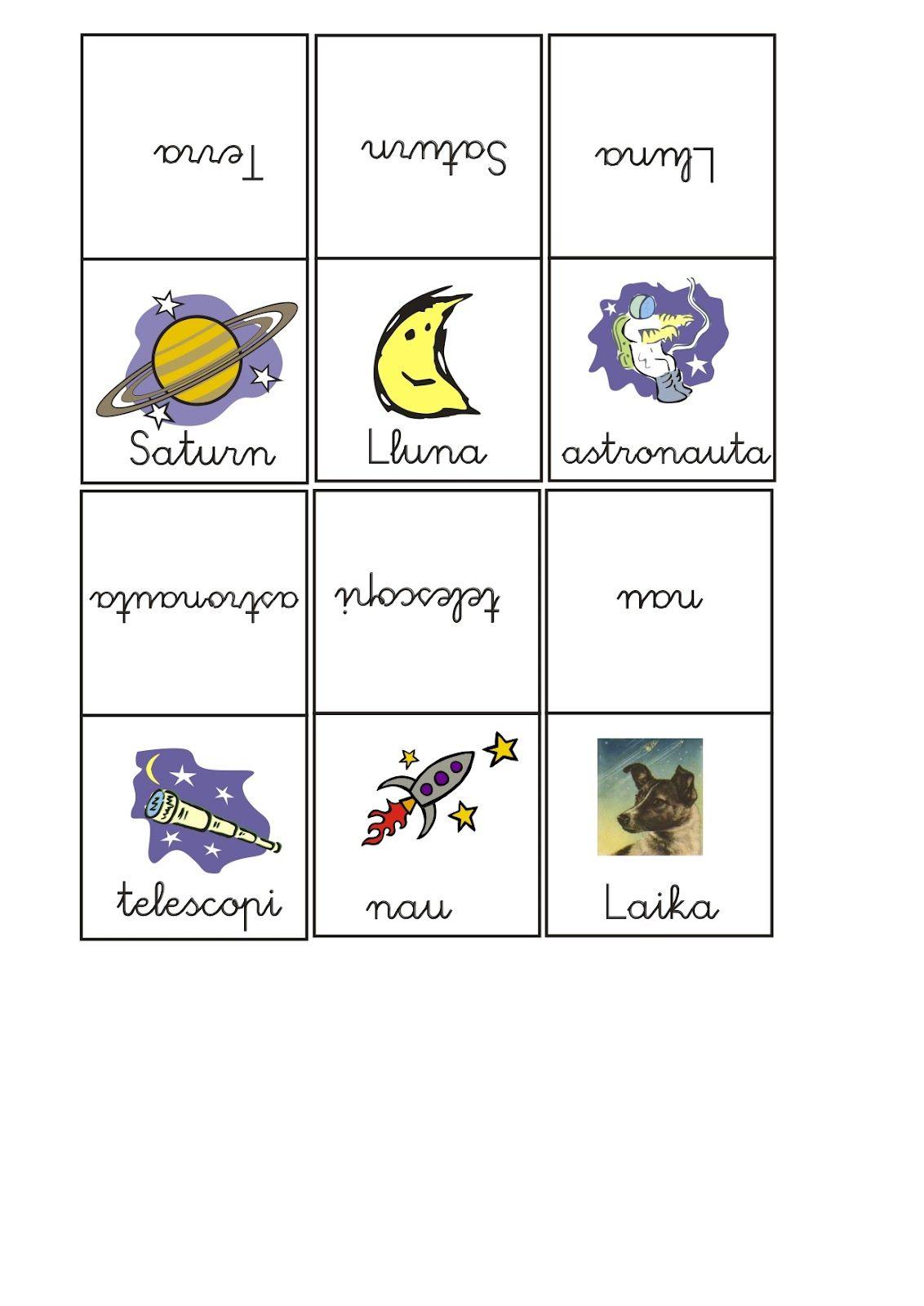Us deixo un dominó del Univers que he trobat, on es relaciona dibuix-paraula. Espere us agrade.