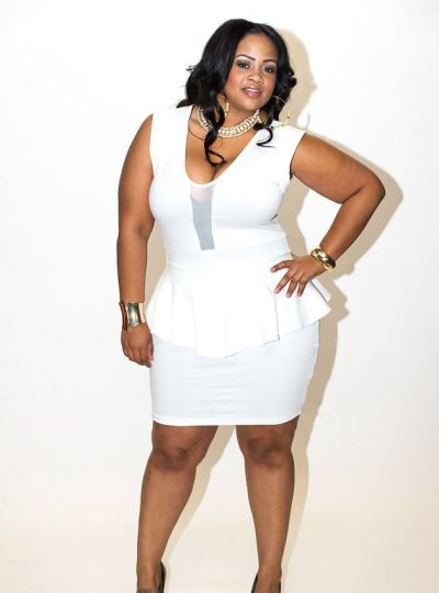 New Plus Size White Peplum Dress with Sheer Front Panel 1x ...