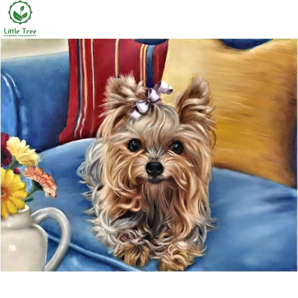 Full Square Beaded Painting Cute Yorkie Doggie 5d Diamond Embroidery Kits Cross Stitch Mosaic Sticker Diamond Painting Animal Yorkie Painting Yorkshire Terrier Puppies Cute Dogs