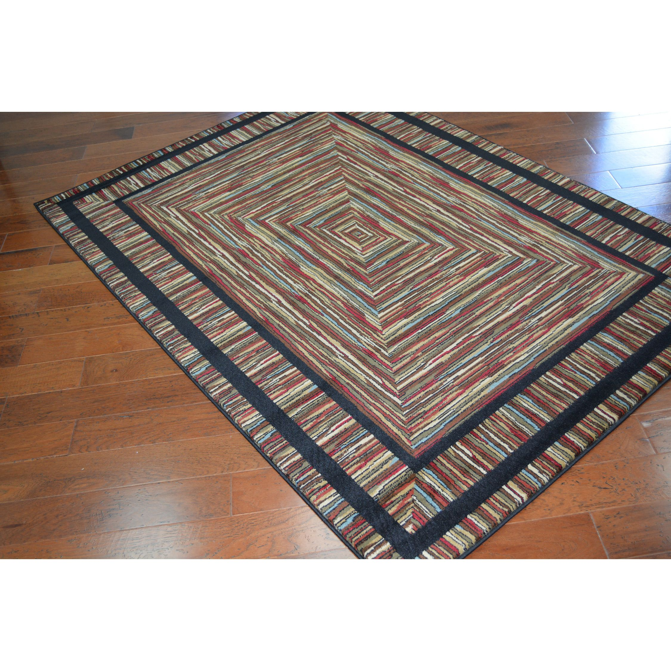 Color your home with this Rustic Lodge Barnsley woven rug. The rich colors and durable fabric of the rug will enhance the woodwork in your home. This striking rug has a unique pattern that will stand out in your home.