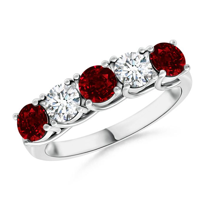 Angara Yellow Gold Three Stone Natural Ruby and Diamond Engagement Ring