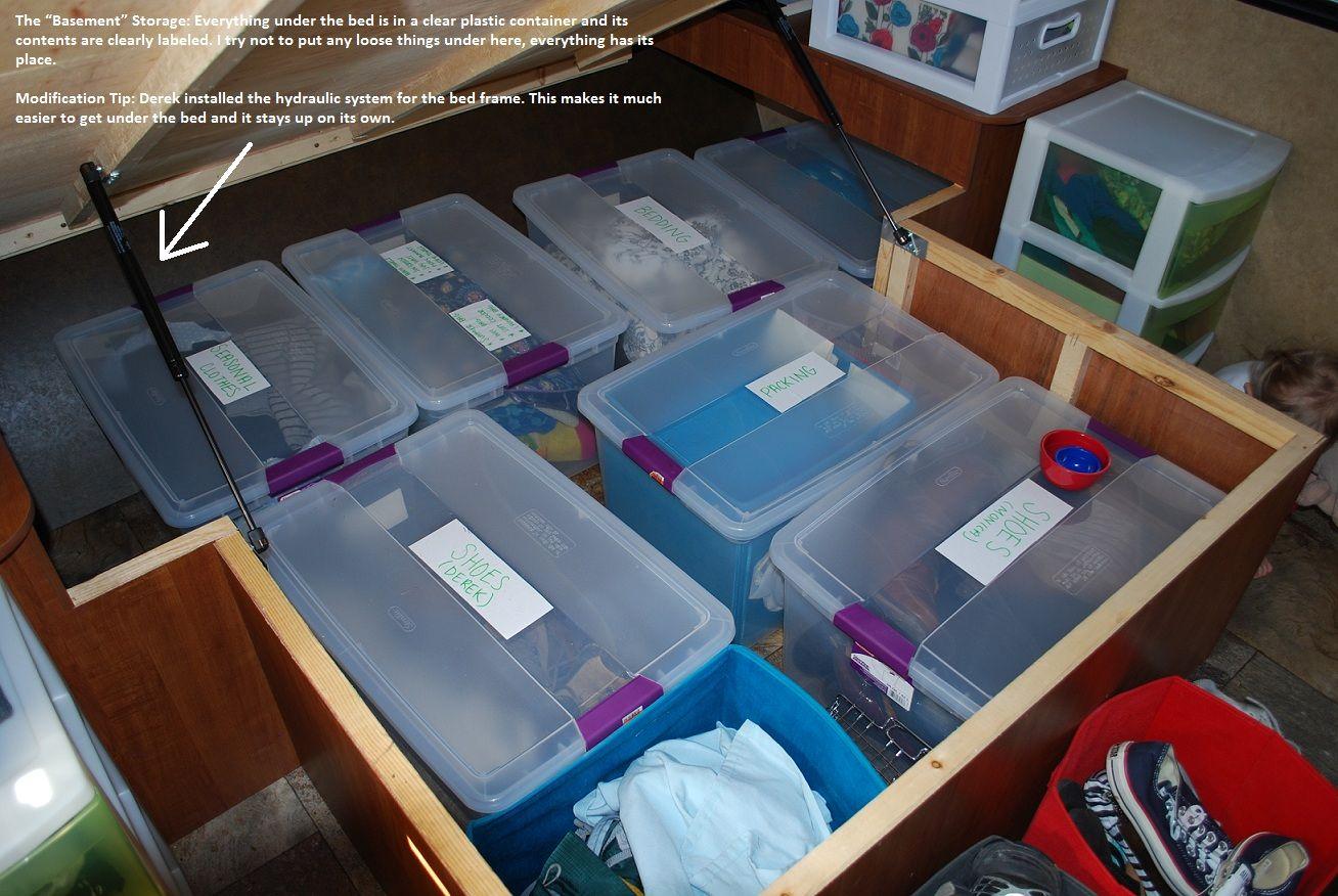 Organizing under your RV. Under Master Bed! Found on