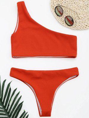 1c4809b9deee91 Ribbed Texture One Shoulder Bikini - Red M