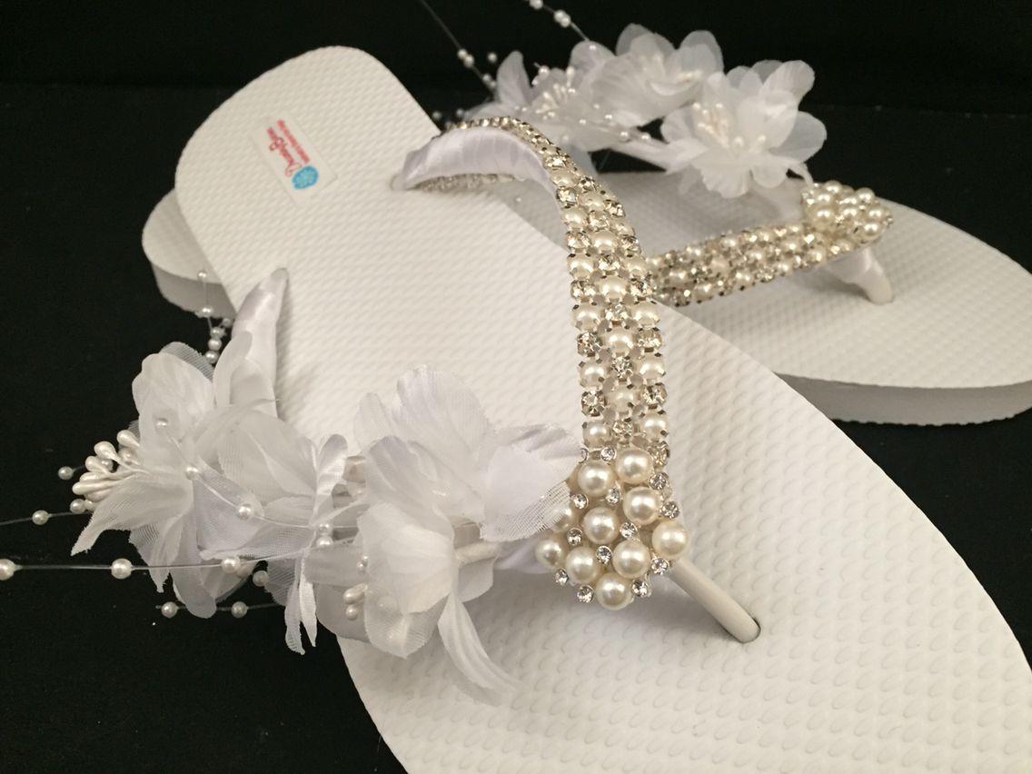65c4306c4dae So Sweet Bride Wilomena Bridal Flip Flop Gem Bling Custom Flip ...