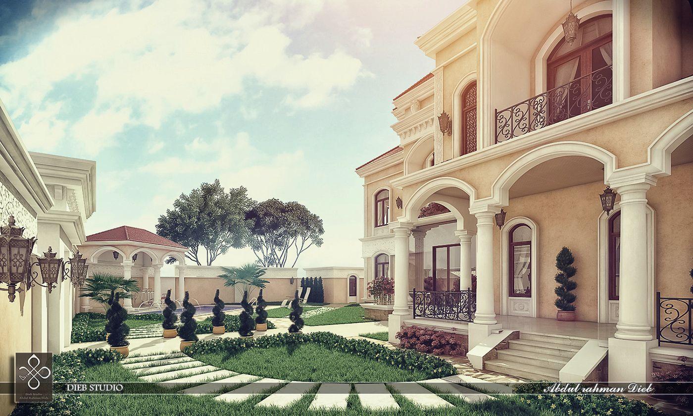 Villa Roman Style On Behance Villa Design Exterior Villa