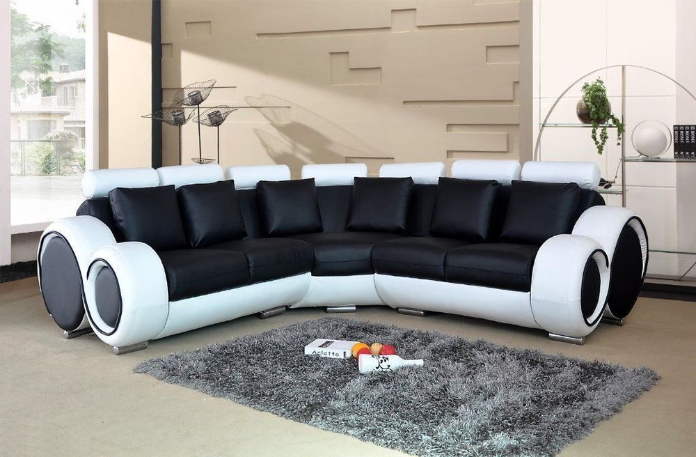 Astonishing Nova Black And White Bonded Leather Corner Sofa 2 Corner 2 Ncnpc Chair Design For Home Ncnpcorg