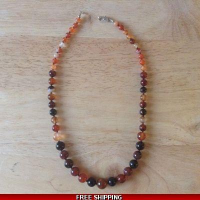 Carnelian Necklace. Genuine Carnelian Jewellery. Graduated