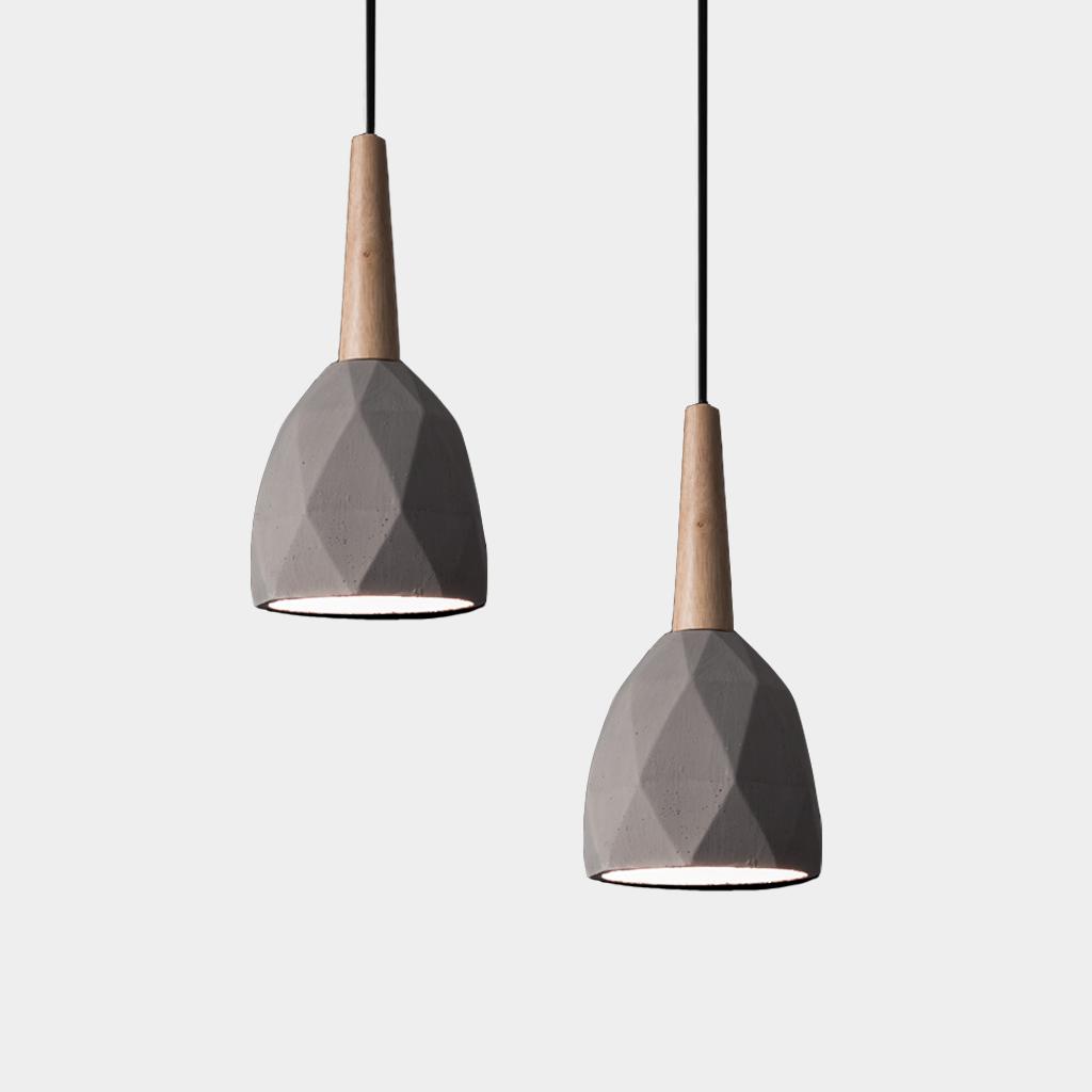 Timber Diamond Concrete Light Length Approx 1m Cable Size 14 X 29 Cm Including Timber Part La Concrete Light Concrete Pendant Light Floor Lamp Design