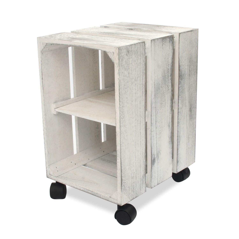 Estanter a m vil de madera con una balda central dos for Bar movil de madera