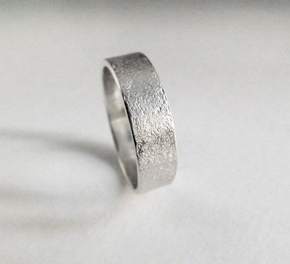 A Handcrafted Silver Wedding Band Made From Argentium With Frosted Texture