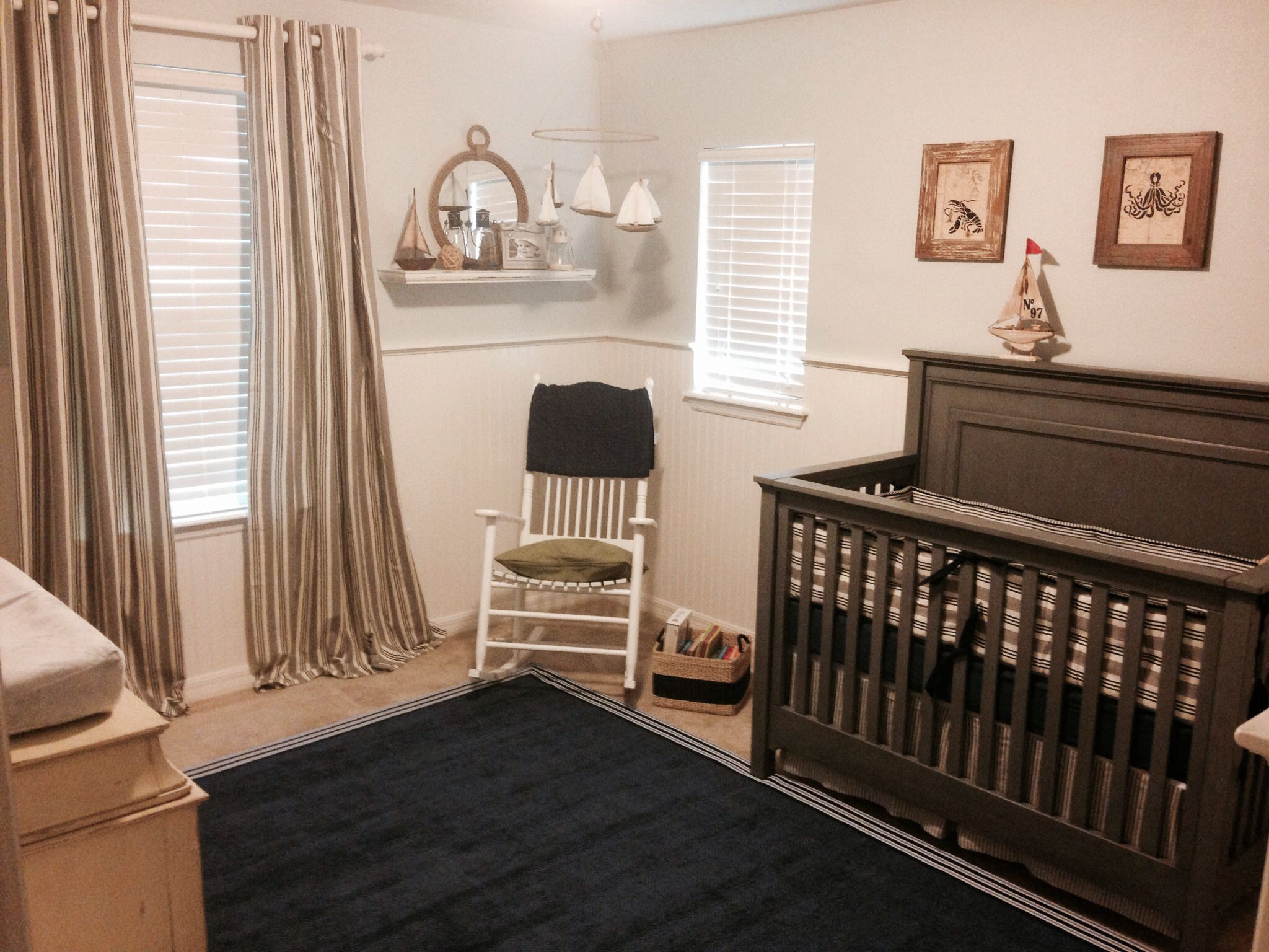 nautical nursery restoration hardware baby and child vintage ticking stripe bedding and drapes