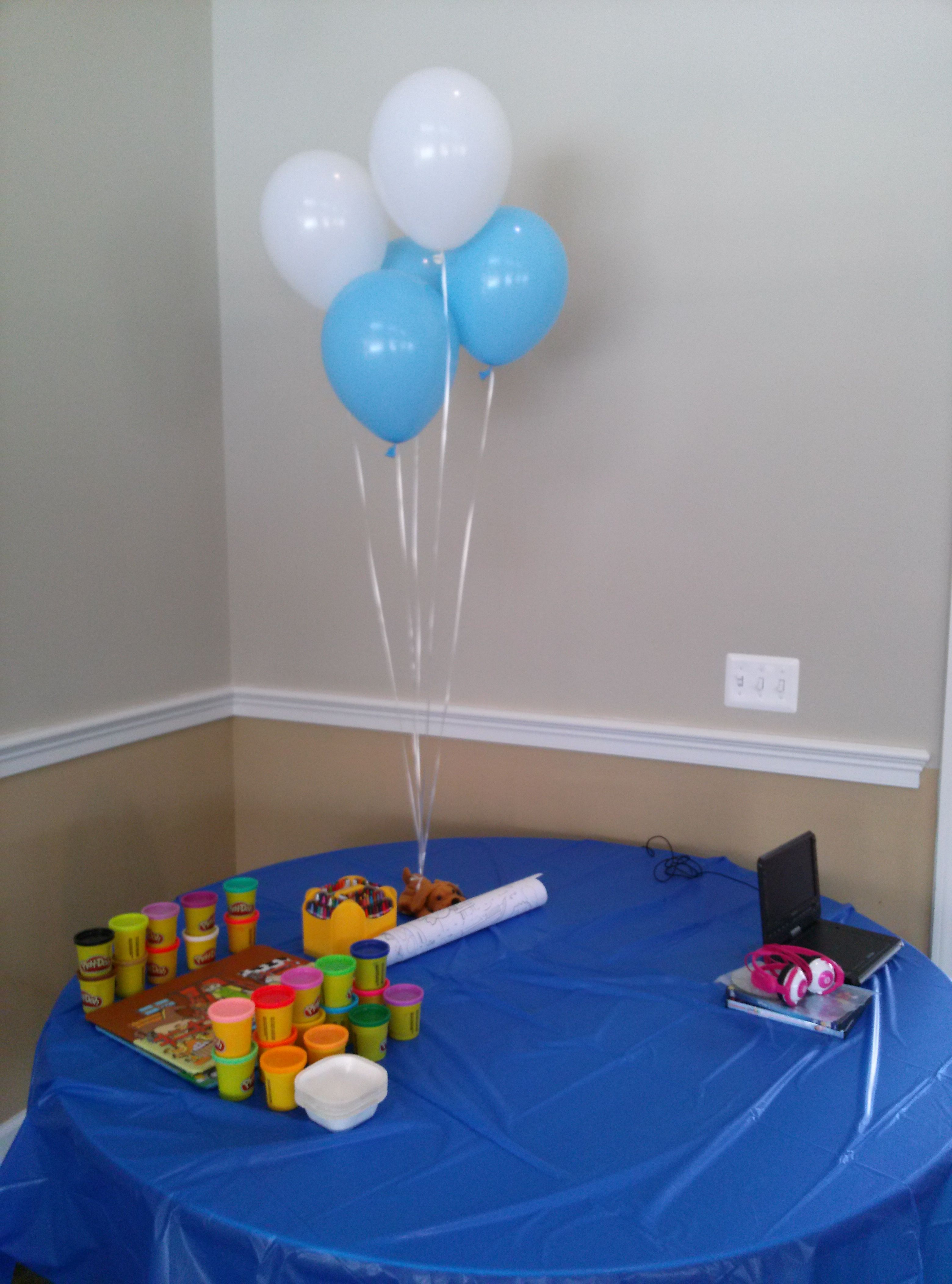 Kids Table At The Baby Shower Playdoh Movies Coloring And More Kid Table Kids Rugs Baby Shower