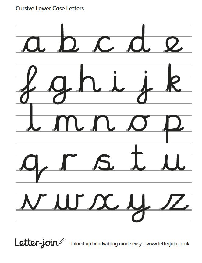 003 Continuous cursive handwriting, letters of the alphabet as