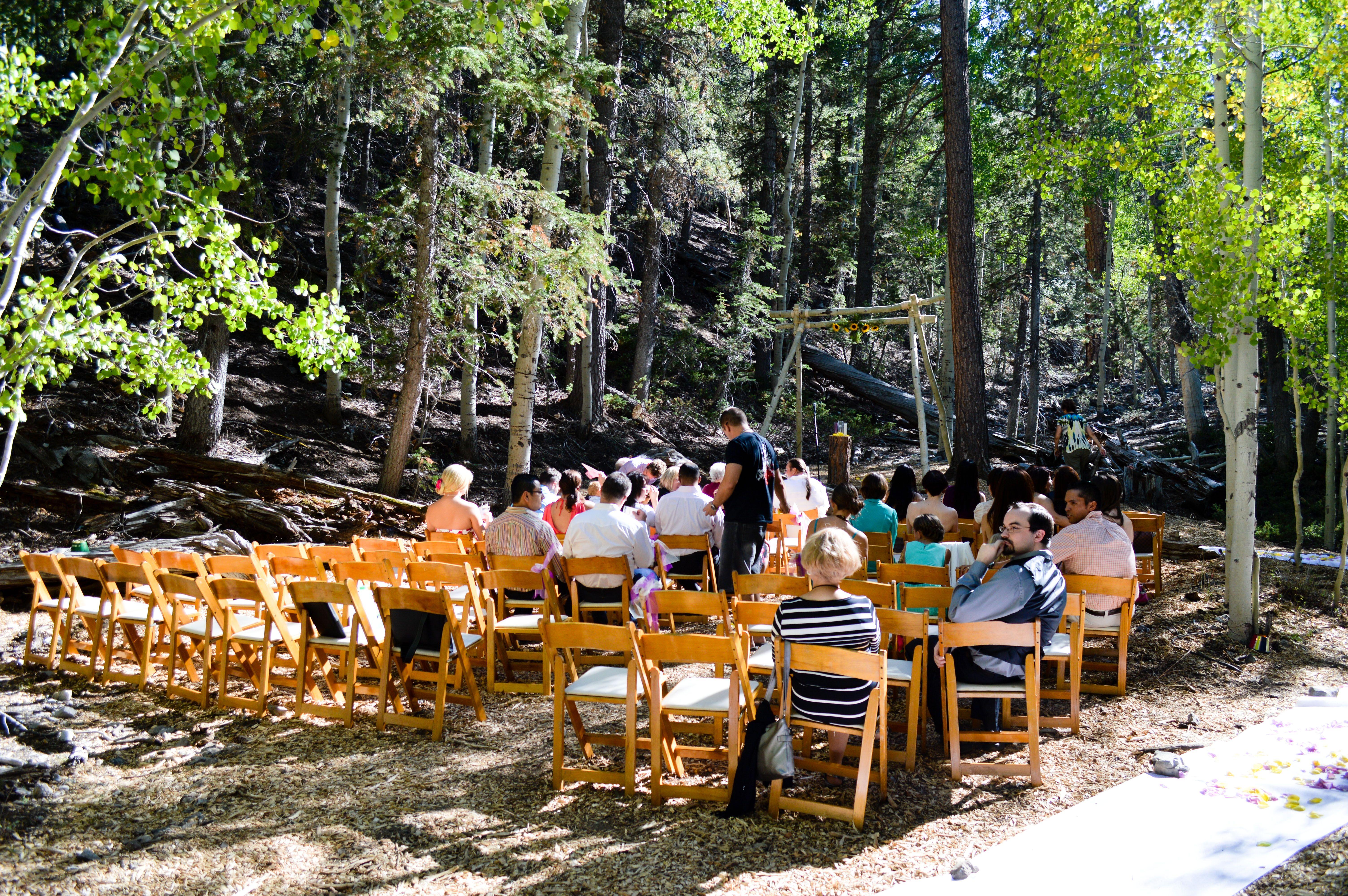Outdoor Wedding At Las Vega Ski And Snowboard Resort In The Woods Mt Charleston