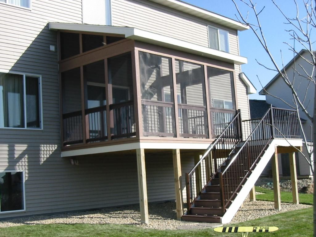 Timbertech screened porch with shed roof lakeville mn for Screen porch roof options