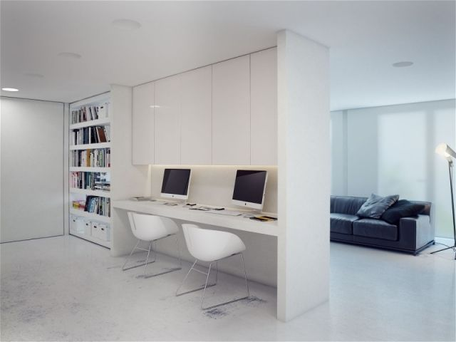arbeitsplätze sinnvoll gestalten zu hause weiße trennwand