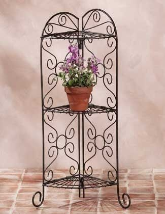 Corner Plant Stand Metal Shelf Flower Pot Holder Bathroom Living